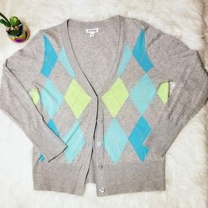 St. John's Bay Argyle Cardigan top sweater